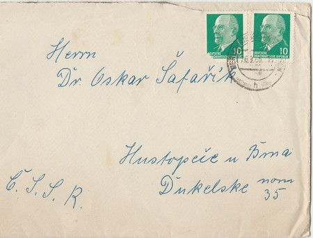 ddr: BERLIN, GERMANY, SEPTEMBER 26:  Front of vintage envelope. Letter was sent from Germany (DDR) to Czechoslovakia (CSSR), 1966 in Berlin Editorial
