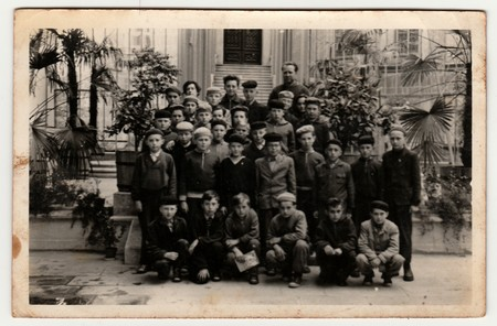THE CZECHOSLOVAK SOCIALIST REPUBLIC, CIRCA 1950: The boys class on a school trip, circa 1950.