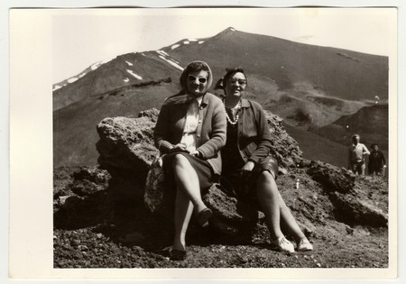 ITALY, CIRCA 1960s: Vintage photo shows people on vacation, circa 1960s. Stock Photo - 81398896