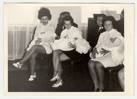 THE CZECHOSLOVAK SOCIALIST REPUBLIC,  1971: A vintage photo shows mothers with their babies during special ceremony, 1971.