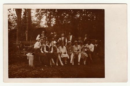 THE CZECHOSLOVAK REPUBLIC, CIRCA 1930s: Vintage photo shows group of people in nature, circa 1930s