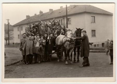 conscription: THE CZECHOSLOVAK SOCIALIST REPUBLIC, CIRCA 1965: A vintage photo shows conscripts (recruiters), circa 1965. Editorial