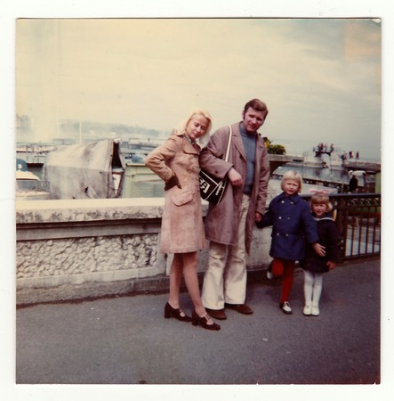 SWITZERLAND, CIRCA 1970s: Vintage photo shows family on vacation, circa 1970s. Stock Photo - 81398967