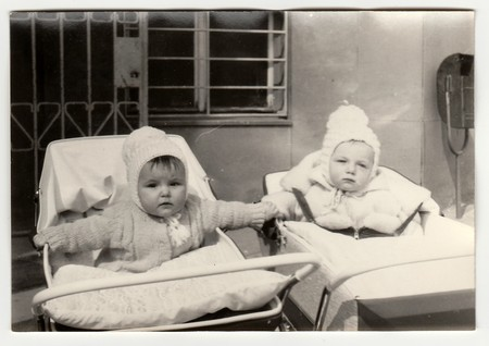 THE CZECHOSLOVAK SOCIALIST REPUBLIC, CIRCA 1972: Vintage photo shows babies in prams (baby carrieges), circa 1972. Editorial