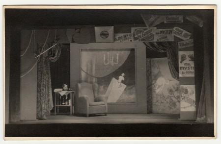 THE CZECHOSLOVAK SOCIALIST REPUBLIC - CIRCA 1970s: Vintage photo shows theatre decorations. Editorial