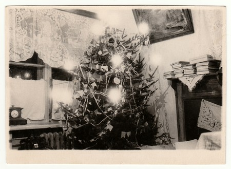 USSR - CIRCA 1980s: Vintage photo shows a Christmas tree.