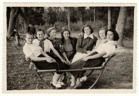 bulgaria girl: USSR - CIRCA 1950s: Vintage photo shows girls sit on swing