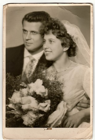 THE CZECHOSLOVAK SOCIALIST REPUBLIC - CIRCA 1970s: Vintage photo of newlyweds. Antique black & white photo. Editorial