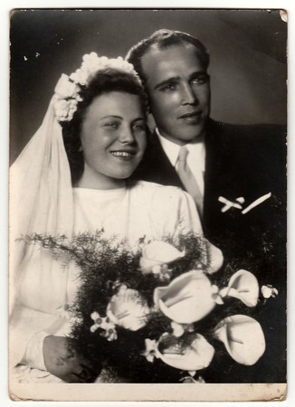 THE CZECHOSLOVAK SOCIALIST REPUBLIC - CIRCA 1950s: Vintage photo of newlyweds. Editöryel
