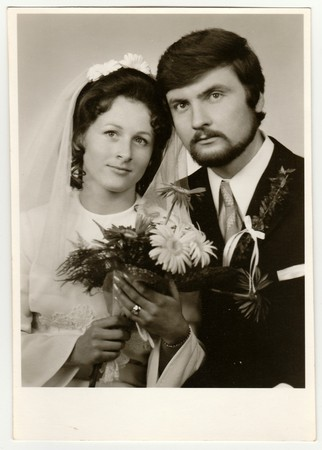 THE CZECHOSLOVAK SOCIALIST REPUBLIC - CIRCA 1970s: Vintage photo of newlyweds.