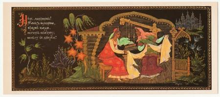 USSR - CIRCA 1981: Card describes the part of classic Russian fairy tale - Vasilisa prekrasnaja (Pretty Vasilisa). Editorial