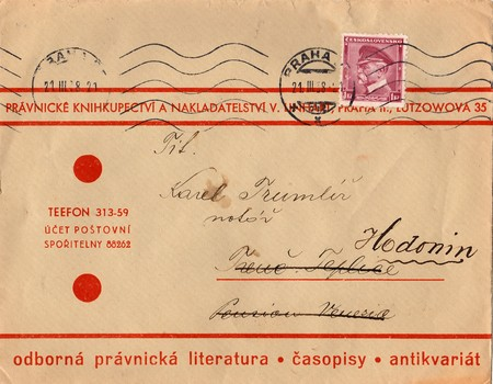 THE CZECHOSLOVAK REPUBLIC - MARCH 21, 1938: A vintage used envelope and stamp. Rich stain and paper details. Can be used as background. Editorial
