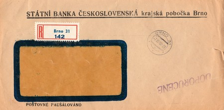 old envelope: THE CZECHOSLOVAK SOCIALIST REPUBLIC - NOVEMBER 7, 1952:  A vintage used envelope. Rich stain and paper details. Can be used as background. Editorial