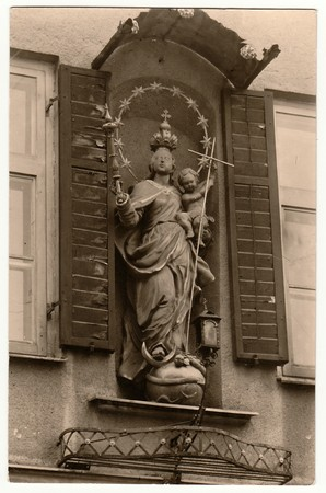 virgil: THE CZECHOSLOVAK REPUBLIC - CIRCA 1960s: Vintage photo shows religious sculpture. Black & white antique photography. Editorial