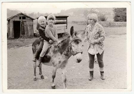 THE CZECHOSLOVAK SOCIALIST REPUBLIC - CIRCA 1970s: Retro photo shows children who sit on donkey. Black & white vintage photography.