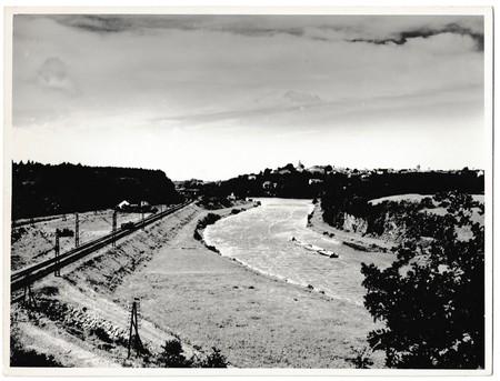 oka: THE CZECHOSLOVAK SOCIALIST REPUBLIC -  CIRCA 1960s: Retro photo shows railway and the pontoons on the river. Black & white vintage photography. Editorial