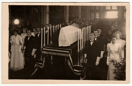PRAHA (PRAGUE), THE CZECHOSLOVAK REPUBLIC - MAY 7, 1939: Vintage photo shows the funeral of Karel Hynek Macha (famous Czech poet). Retro black & white photography.