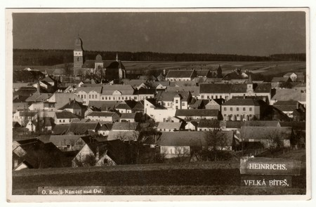 protectorate: VELKA BITES (HEINRICHS), PROTECTORATE OF BOHEMIA AND MORAVIA - AUGUST 18, 1944: Vintage photo shows view on Moravia village during II world war. Retro black & white photography.