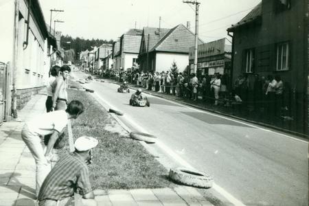 THE CZECHOSLOVAK SOCIALIST REPUBLIC - CIRCA 1970s: Retro photo shows  go-karts racing on the street. Vintage photography.