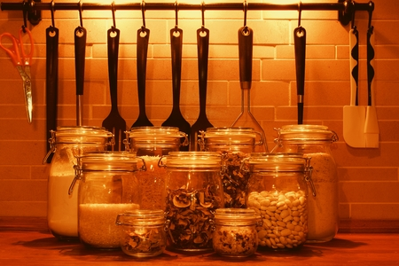 Kitchen jars for kitchen ingredients. Kitchen tools for cooking