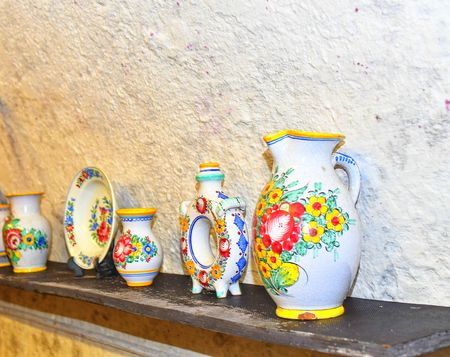 Tupesy majolica. Typical Tupesy ceramics on shelf Redakční
