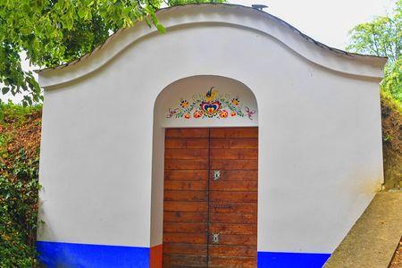 Traditional Wine Cellars - Plze, Petrov, Czech Republic, Europe. Wine lore and folklore. Moravian wine cellars 報道画像