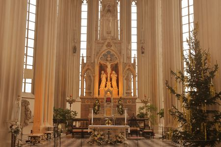 BRNO, THE CZECH REPUBLIC - DECEMBER 28, 2018: The Church of St. Jacob the Elder is a late Gothic three-nave hall church located on the Jakub Square in the Brno. Christmass decoration in church.