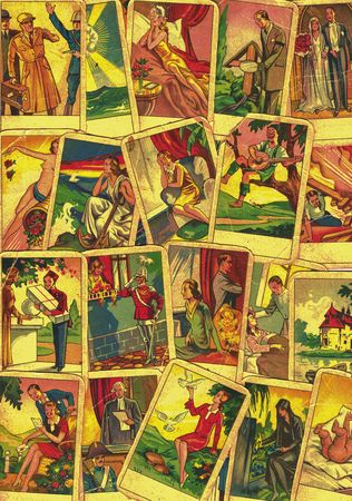 HUSTOPECE, THE CZECH REBUBLIC - JANUARY 9, 2019: Vintage tarot cards. Fortunetelling with one of the most popular occult Tarot cards