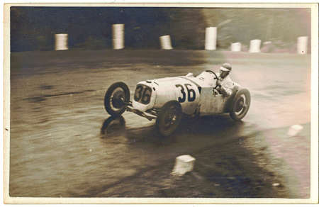 Gerhard Macher - a German racing driver drivess on Brno circuit - Masaryk Grand Prix. Macher drives Bugatti car.