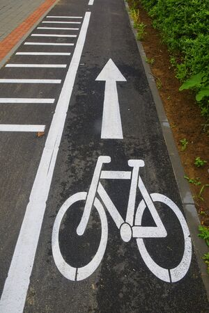 Road section with road markings regulating the movement of cyclists. Bicycle signs on the road. Bicycle road with arrow. Bicycle and modern ecological public movement Stock Photo