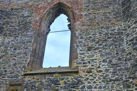 Gothic window. Ruins of medieval convent. Convent at Dolni Kounice, Czechia