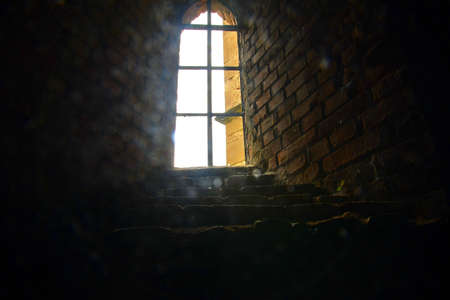 Gothic window. Ruins of medieval convent. Convent Rosa Coeli at Dolni Kounice, Czechia