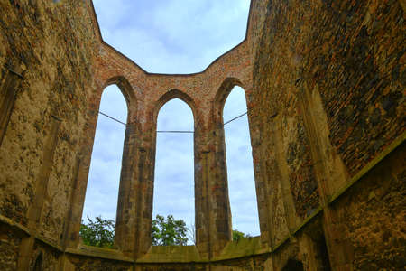 Gothic windows. Ruins of medieval convent. Convent Rosa Coeli at Dolni Kounice, Czechia Stock Photo