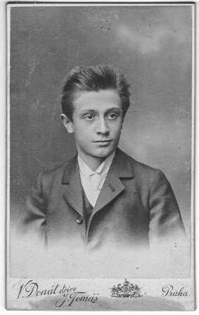 PRAHA-PRAG, AUSTRIA - HUNGARY - CIRCA 1910: Vintage cabinet card shows portrait of the young man. Photo was taken in a photo studio. Photo was taken in Austro-Hungarian Empire or also Austro-Hungarian Monarchy