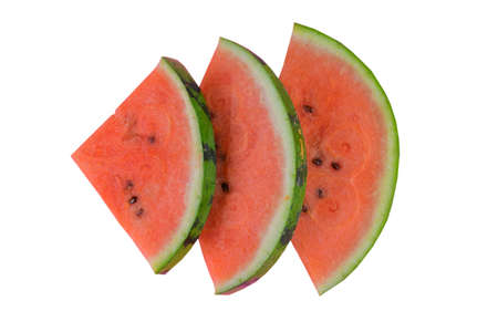 Sliced watermelon on white background. Pieces of watermelon isolated on white background. Flat lay