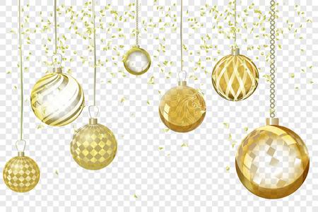 Résumé de fond de Noël doré de vecteur. Boule de noel orna Banque d'images - 82733477