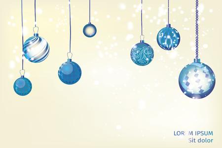 Résumé de fond de vecteur bleu Noël. Boule de Noël nom de neige Banque d'images - 82733474