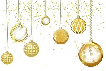 Vector golden xmas background abstract. Christmas ball snow orna