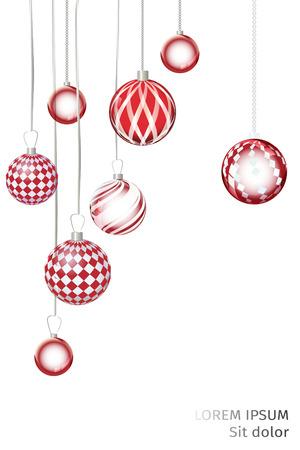 Résumé de fond de vecteur rouge Noël. Boule de Noël neige ornamen Banque d'images - 82733478