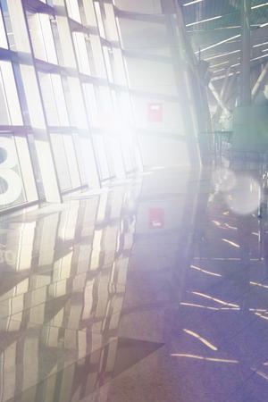 Fond de technologie photo entreprise. Lumière du soir dans les gratte-ciel de bureau. Abstrait géométrique moderne. Banque d'images - 91319734