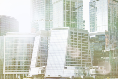 Gratte-ciel, immeuble, complexe ville moscou Technologie d'entreprise. Fond d'architecture Corporation ville moderne. Banque d'images - 91360665