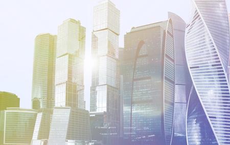 Gratte-ciel, immeuble, complexe ville moscou Technologie d'entreprise. Fond d'architecture Corporation ville moderne. Banque d'images - 91267074