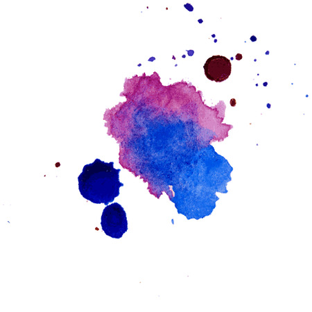 Texture de splash aquarelle multicolore vecteur blots fond isolé. Blob dessiné main grunge, spot et gouttelettes. Effets de tache d'éclaboussure aquarelle. Banque d'images - 92853945