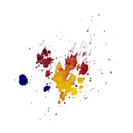 Texture de splash aquarelle multicolore Vector blots fond isolé. Blob dessiné à la main grunge, tache et gouttelettes. Effets de taches d'aquarelle. Couleurs saisonnières de printemps et d'hiver s'égoutte abstrait. Banque d'images - 92854001
