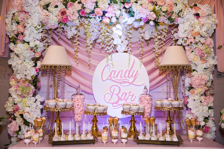 Candy bar. Table with sweets, candies desserts Stock fotó