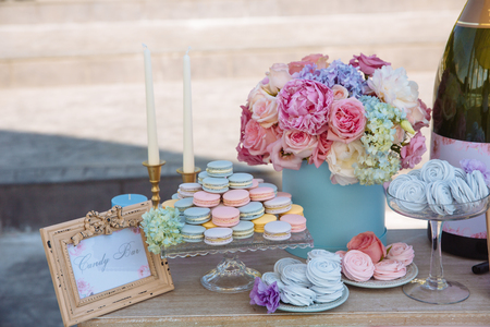 Candy bar. Table with sweets, candies desserts Stock Photo