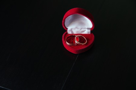 alliances: golden wedding rings on a dark background in red box