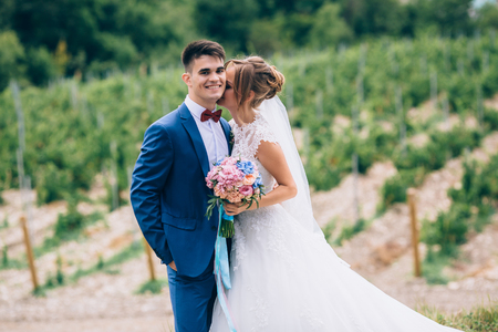 Lovers just got married and walk among the grape fields. The girl cuddles up to the man, kisses him on the neck. The guy smiles, he is happy that she became his wife.