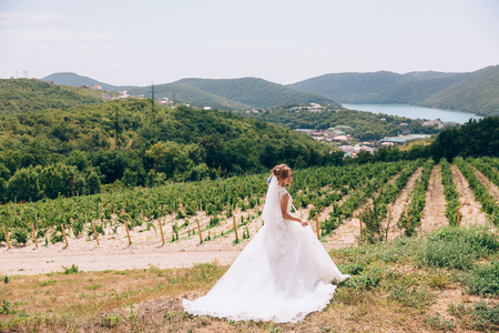 A runaway bride walks in a deserted field, admires vineyards and mountains, and feels free. A young girl retired in nature.