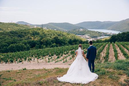 Ein Mann und eine Frau bewundern die Schönheit der Natur, halten die Hände fest und machen Pläne für die Zukunft. Hochzeitsspaziergang in der Natur. Standard-Bild